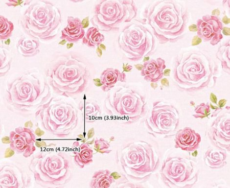 Blooming Rose Contact Paper Peel and Stick Wallpaper DPS-64 Pattern Size