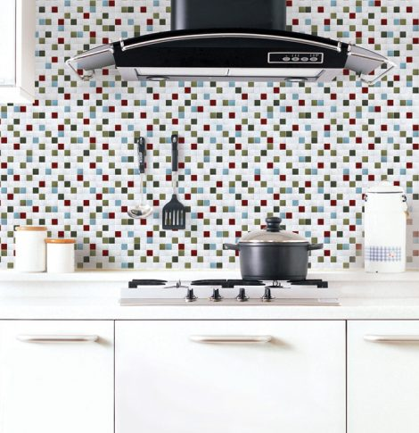 Green Tile Looking Contact Paper Peel Stick Wallpaper DPS-65 Application