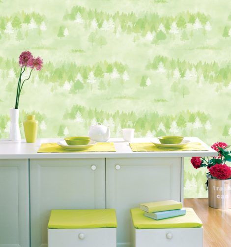 Forest Pattern Green Contact Paper Peel and Stick Wallpaper DPS-74 Display