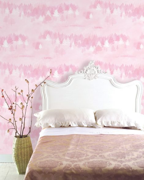 Forest Pattern Pink Contact Paper Peel and Stick Wallpaper DPS-75 Application