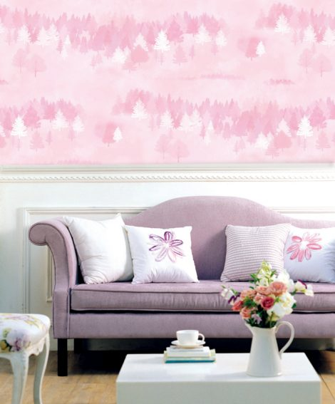 Forest Pattern Pink Contact Paper Peel and Stick Wallpaper DPS-75 Display