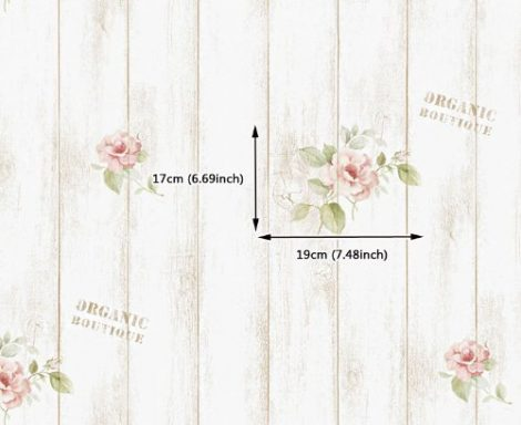 Rose Shabby Panel Contact Paper Peel and Stick Wallpaper DPS-77 Pattern Size