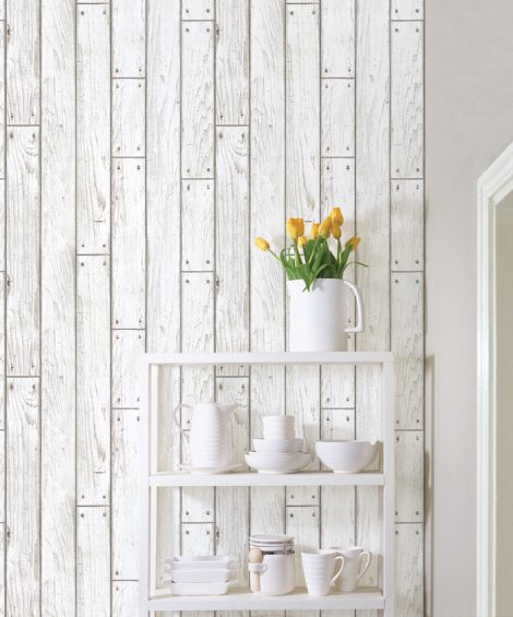 Shabby Panel White Wood Contact Paper Peel Stick Wallpaper DWP-09 Wall