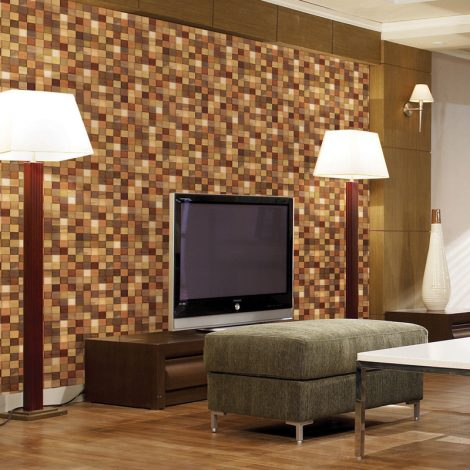 Modern Mosaic Wood Contact Paper Peel Stick Wallpaper DWP-12 Display
