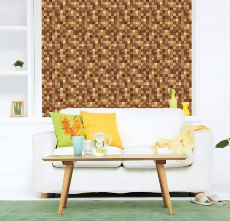 Modern Mosaic Wood Contact Paper Peel Stick Wallpaper DWP-12 Decoration
