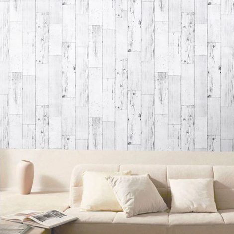 Shabby Panel White Contact Paper Peel Stick Wallpaper AWS-20003 Sample