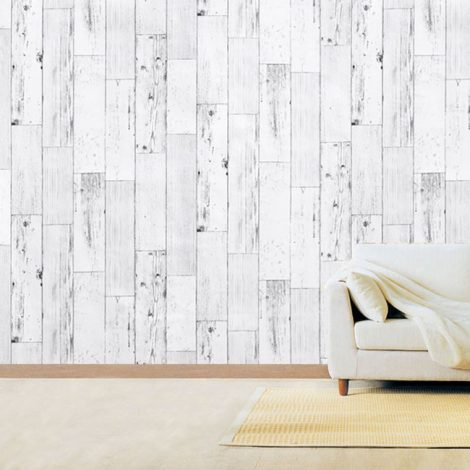 Shabby Panel White Contact Paper Peel Stick Wallpaper AWS-20003 Display