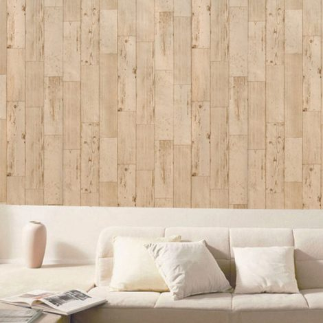 Shabby Panel Cappuccino Contact Paper Peel Stick Wallpaper AWS-20004 Dispaly