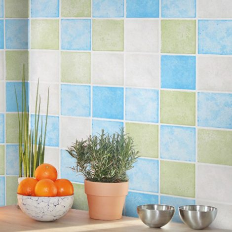 Blue Green Tile Contact Paper Peel Stick Wallpaper AWS-20005 Display