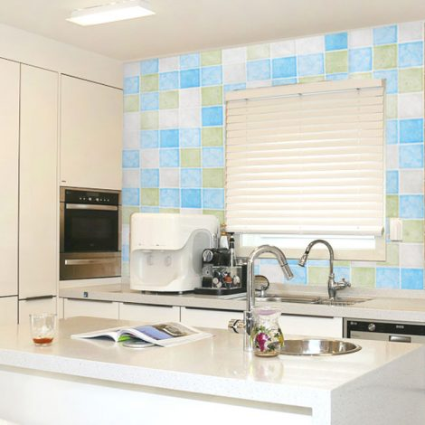 Blue Green Tile Contact Paper Peel Stick Wallpaper AWS-20005 Decoration