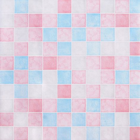 Pink Blue Tile Contact Paper Peel Stick Wallpaper AWS-20006
