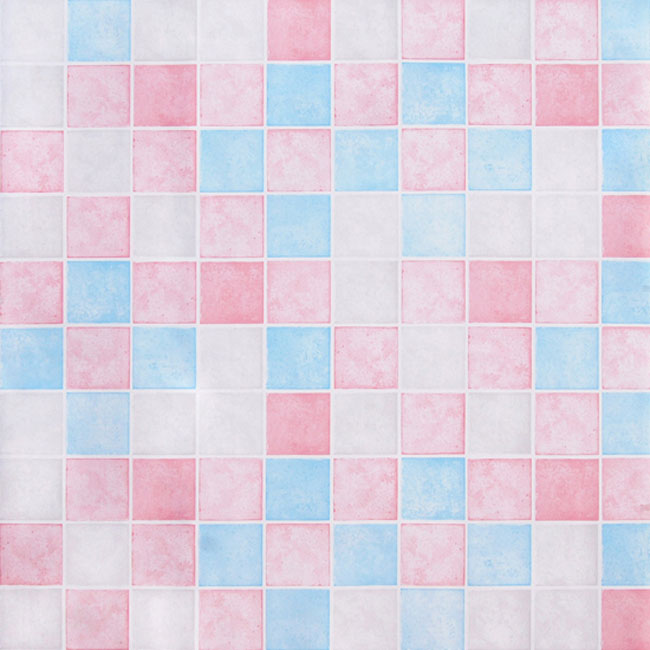 Pink Blue Tile Contact Paper Peel Stick Wallpaper