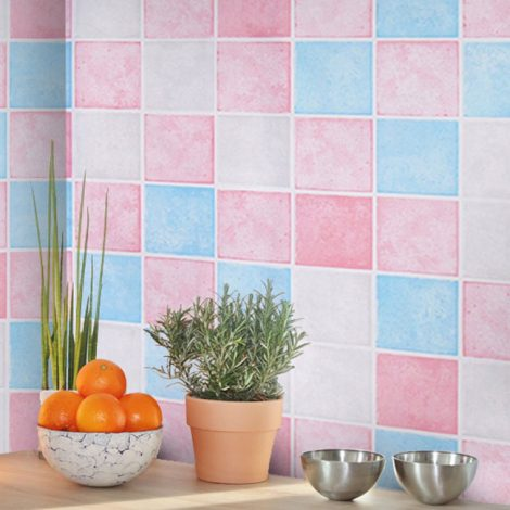 Pink Blue Tile Contact Paper Peel Stick Wallpaper AWS-20006 Sample