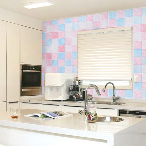 Pink Blue Tile Contact Paper Peel Stick Wallpaper AWS-20006 Display