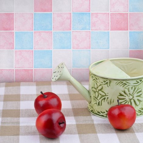 Pink Blue Tile Contact Paper Peel Stick Wallpaper AWS-20006 Decoration