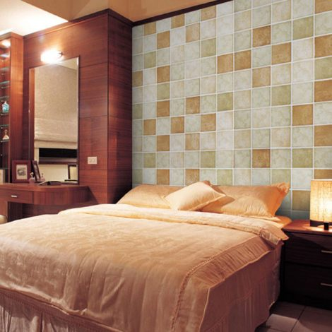 Classic Tile Brown Contact Paper Peel Stick Wallpaper AWS-20007 Application