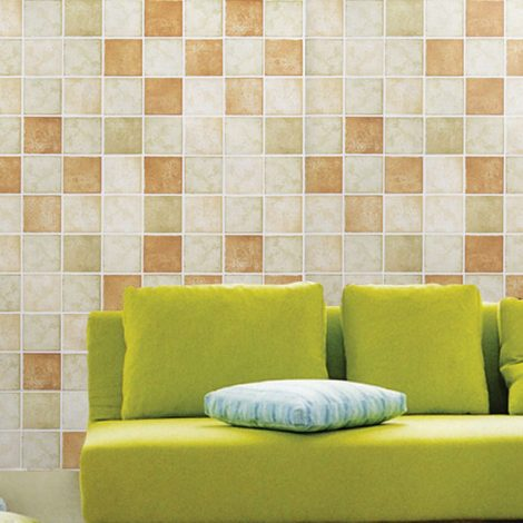 Classic Tile Brown Contact Paper Peel Stick Wallpaper AWS-20007 Display
