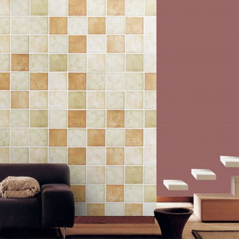 Classic Tile Brown Contact Paper Peel Stick Wallpaper AWS-20007 Decoration