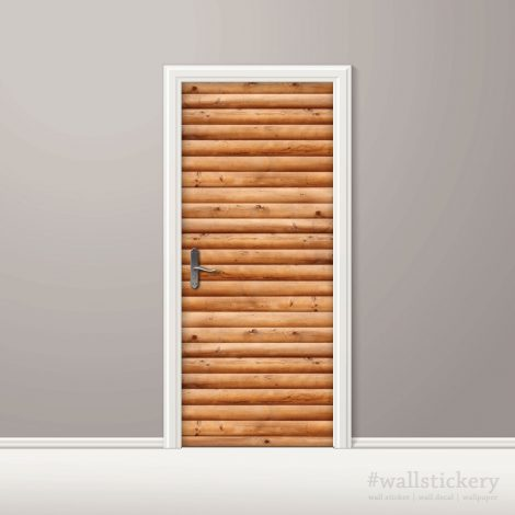 Door Wall Sticker Contact Paper Self Adhesive Wallpaper Wooden Logs Door