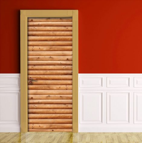 Door Wall Sticker Contact Paper Self Adhesive Wallpaper Wooden Logs Door sample display