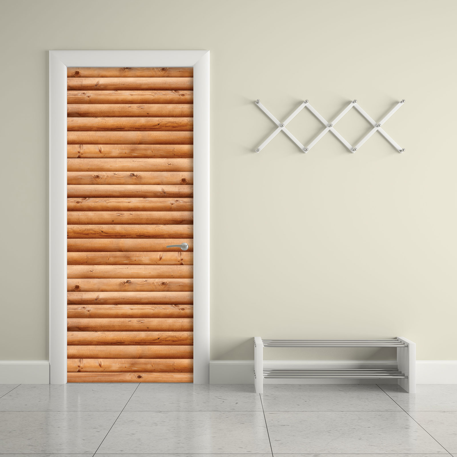 Door Wall Sticker Contact Paper Self Adhesive Wallpaper Wooden Logs Door #1 size home