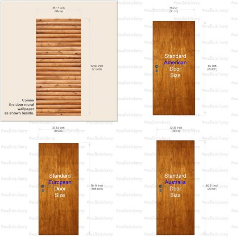 Door Wall Sticker Contact Paper Self Adhesive Wallpaper Wooden Logs Door #1 size