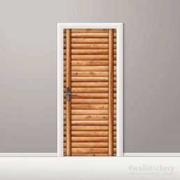 Door Wall Sticker Contact Paper Self Adhesive Wallpaper Wooden Logs Door #2
