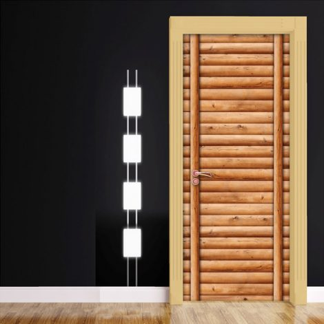Door Wall Sticker Contact Paper Self Adhesive Wallpaper Wooden Logs Door #2 decoration