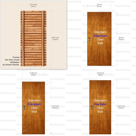 Door Wall Sticker Contact Paper Self Adhesive Wallpaper Wooden Logs Door #2 size