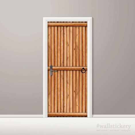 Door Contact Paper Vertical Wooden Logs Pattern #2 AU-AE009