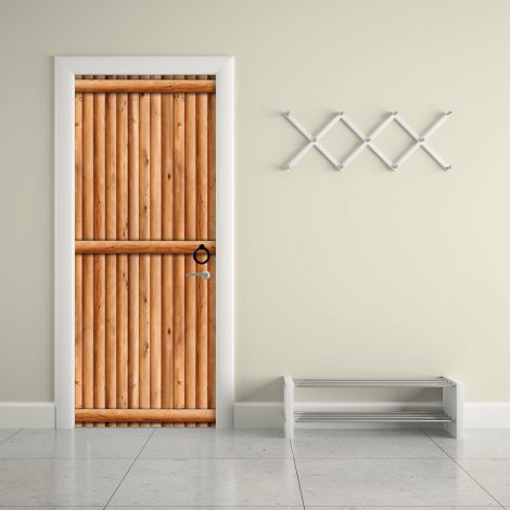 Door Contact Paper Vertical Wooden Logs Pattern #2 AU-AE009 living room