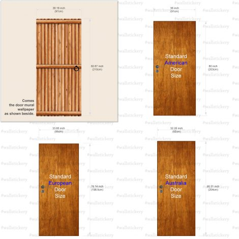 Door Contact Paper Vertical Wooden Logs Pattern #2 AU-AE009 Size