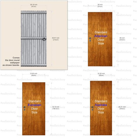 Door Contact Paper Self Adhesive Gray Wood Log Panel size