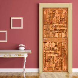 Carved Wood Typography Door Contact Paper