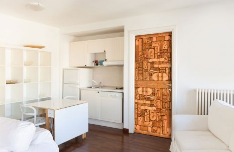 Carved Wood Typography Door Contact Paper kitchen