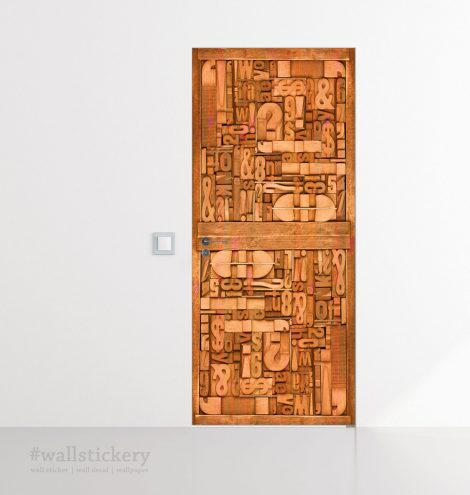 Carved Wood Typography Door Contact Paper application