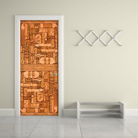 Carved Wood Typography Door Contact Paper kids room