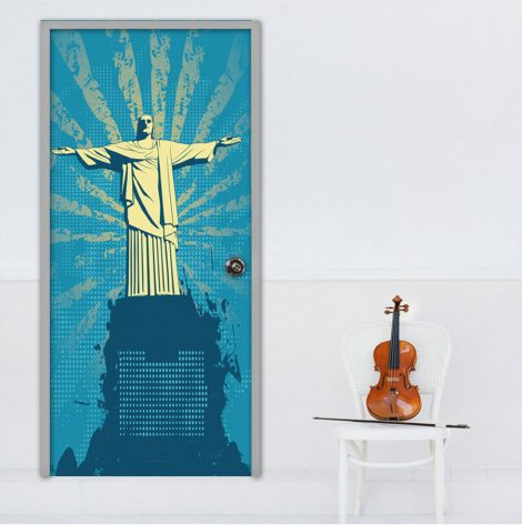 Christ the Redeemer Door Wall Sticker Contact Paper application