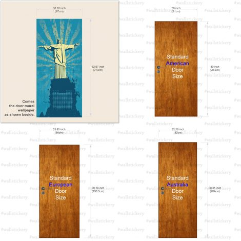 Christ the Redeemer Door Wall Sticker Contact Paper size