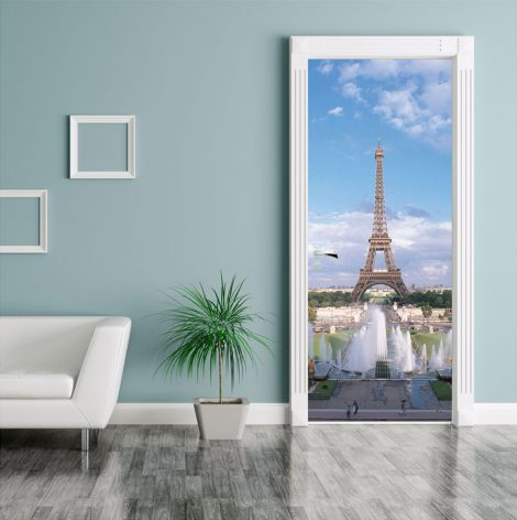 Summer Eiffel Tower Door Contact Paper Wallpaper living room