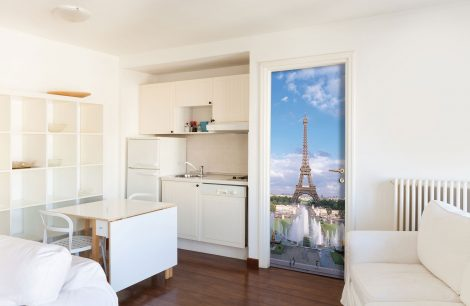 Summer Eiffel Tower Door Contact Paper Wallpaper kitchen