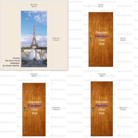 Summer Eiffel Tower Door Contact Paper Wallpaper size