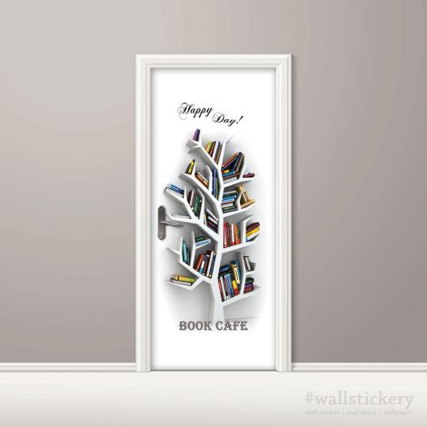 Book Cafe Door Contact Paper Wall Sticker