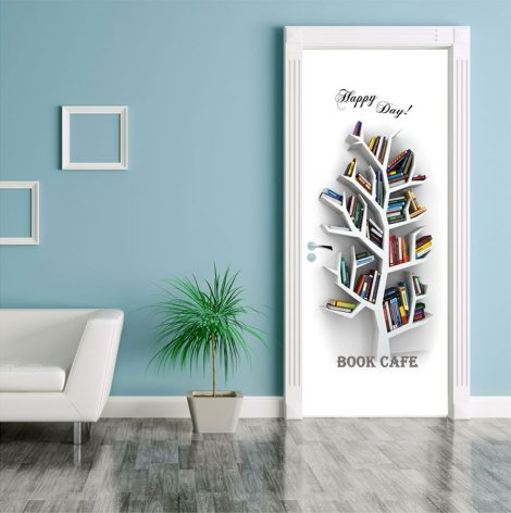 Book Cafe Door Contact Paper Wall Sticker application