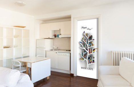 Book Cafe Door Contact Paper Wall Sticker kitchen