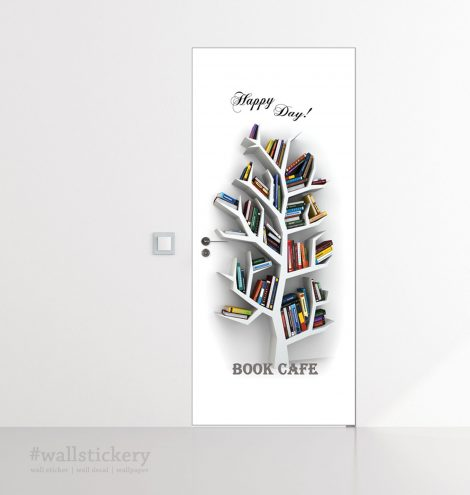 Book Cafe Door Contact Paper Wall Sticker home