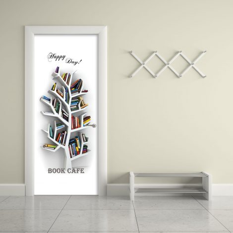 Book Cafe Door Contact Paper Wall Sticker office