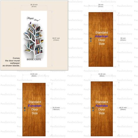 Book Cafe Door Contact Paper Wall Sticker size