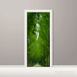 Tree-Lined Road Door Contact Paper Wall Sticker display