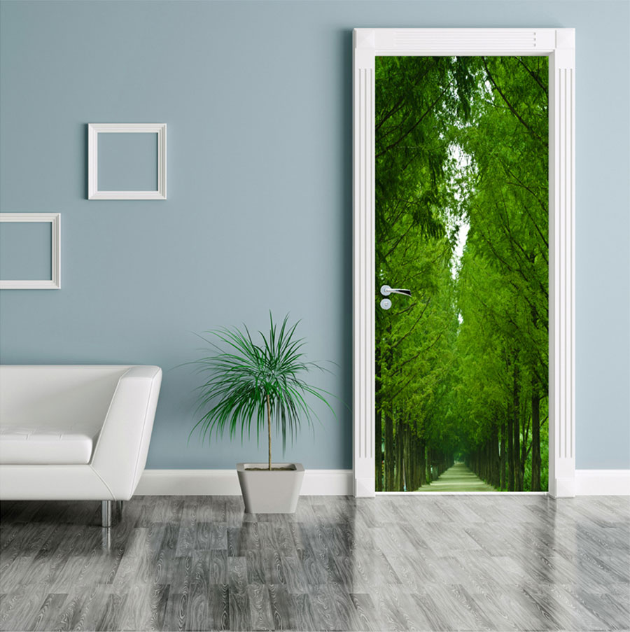 Tree Lined Road Door Contact Paper Wall Sticker